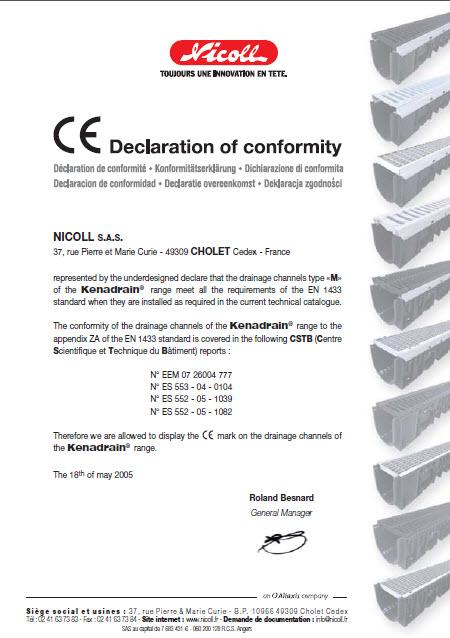 شرکت نیکول فرانسه دارای استاندارد CE اروپا راجع به محصولات سری کنادرین (سری سنگین)