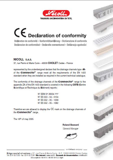 شرکت نیکول فرانسه دارای استاندارد CE اروپا راجع به محصولات کانکتو (سری سبک)
