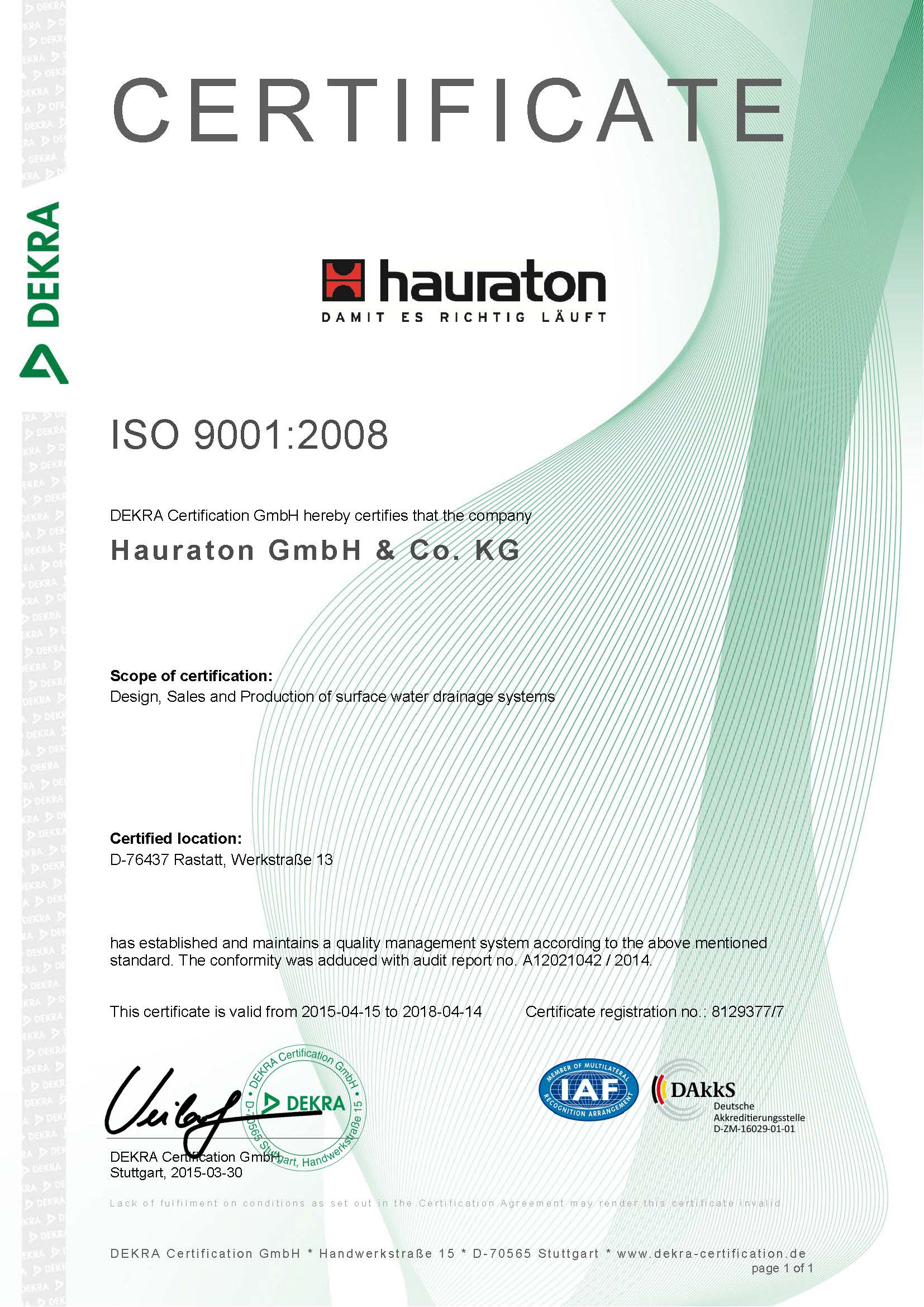 شرکت هاراتون آلمان دارای استاندارد ایزو 9001:2008 اروپا